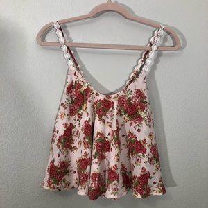Floral Print Silky Crop Top
